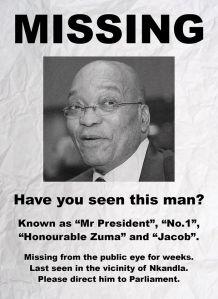 missing jacob zuma