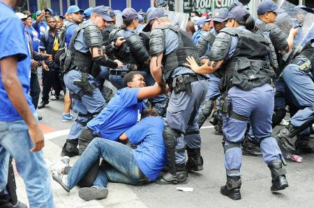 Outside Parliament, where DA members were assaulted and arrested. Photo: Michael Walker/Cape Times